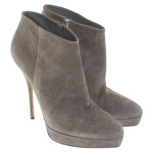 Gucci Grey Suede Ankle Boots 12cm Heel, size 6.5